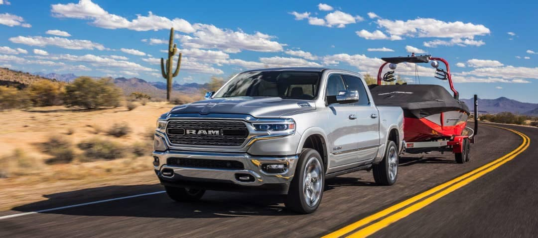 2019 RAM 1500 towing a boat