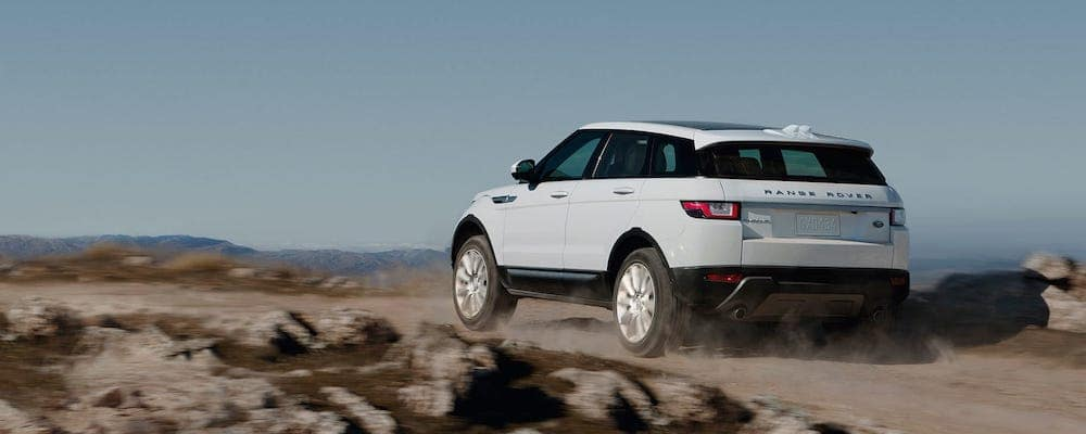 white 2019 Range Rover Evoque on a dirt road