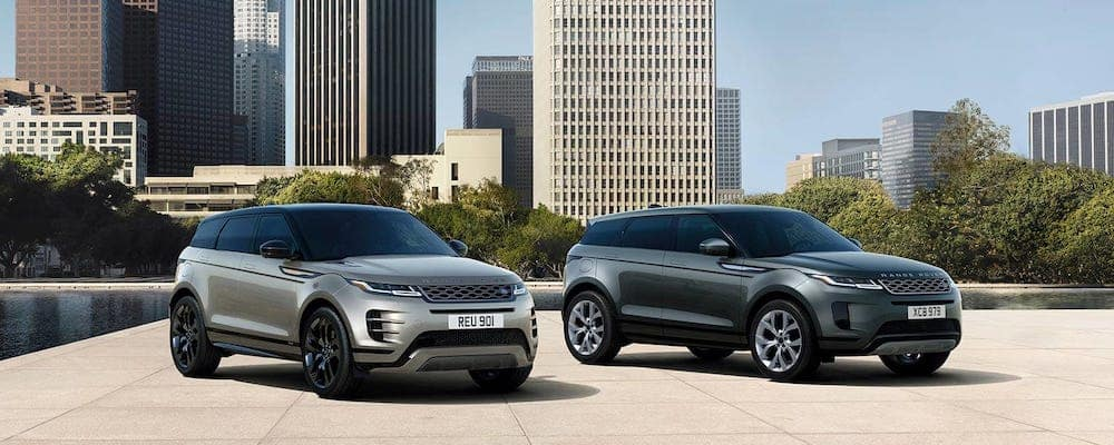 2020 range rover evoque and 2020 range rover evoque r-dynamic parked in city