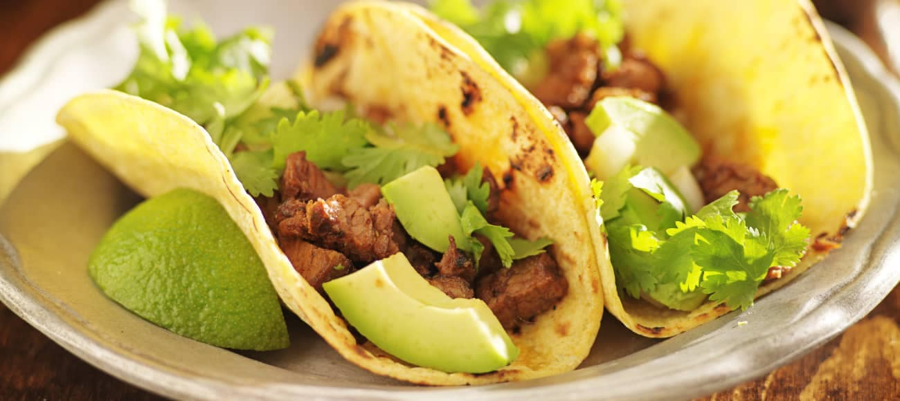 steak tacos on plate
