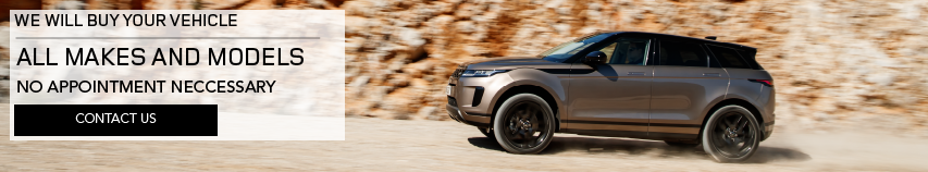WE WILL BUY YOUR VEHICLE_ALL MAKES AND MODELS_NO APPOINTMENT NECESSARY_CONTACT US_LIGHT BROWN RANGE ROVER EVOQUE DRIVING UP GRAVEL ROAD ON MOUNTAIN RANGE