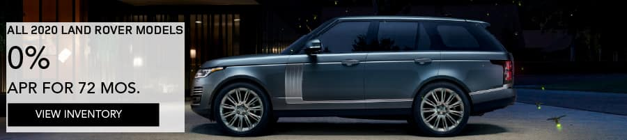 ALL 2020 LAND ROVER MODELS. 0% APR FOR 72 MONTHS. VIEW INVENTORY. BLUE RANGE ROVER PARKED IN FRONT OF HOME AT DUSK.