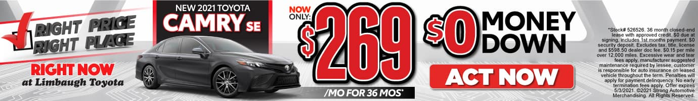 New 2021 Camry SE - Now Only $269 per month - Act Now