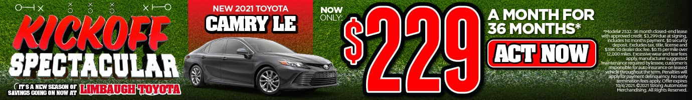NEW 2021 TOYOTA CAMRY LE NOW ONLY $229/MO* ACT NOW
