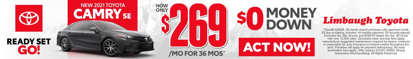 New 2021 Toyota Camry - Now Only $269 a month with $0 money down - Act Now