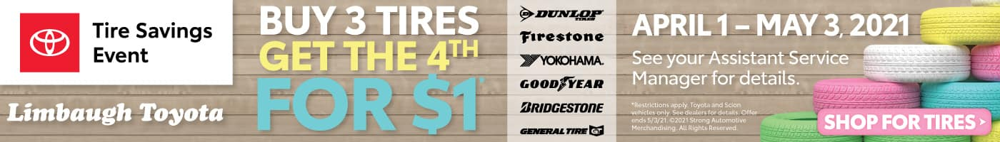 Buy 3 Tires get the 4th for $1 - SHOP NOW