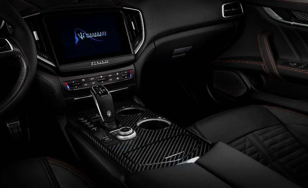 Interior of 2019 Maserati Ghibli GranSport with touchscreen infotainment center