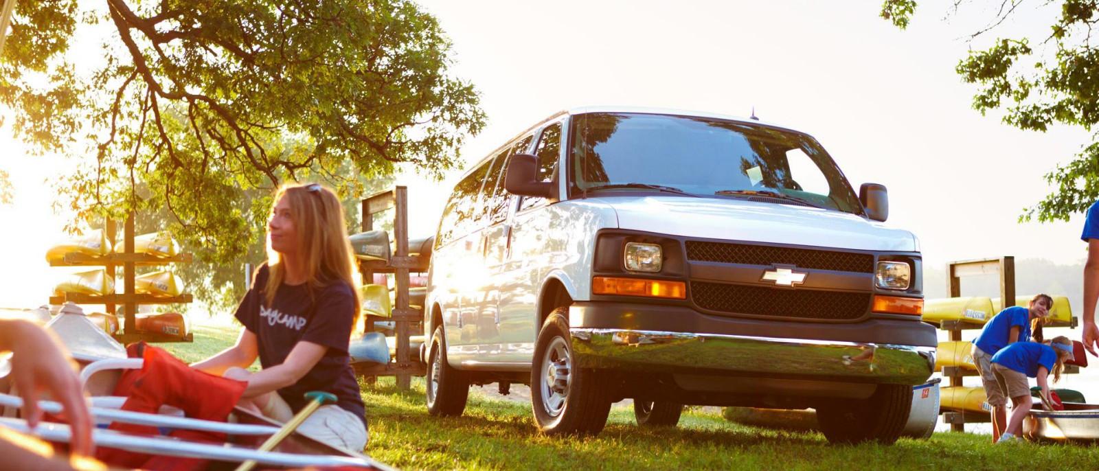 2015 Chevy Express Cargo Van in the woods