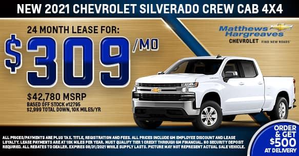 2021 Chevrolet Silverado 1500 Crew Cab 4x4 Custom Lease Offer