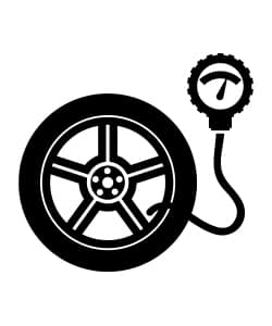A graphic of a tire and tire pressure gauge with the Borg parts logo