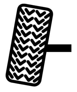 A graphic of a tire out of alignment