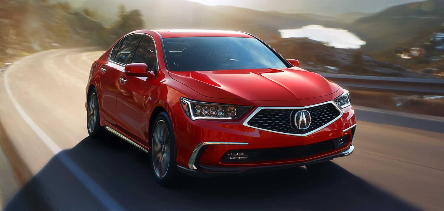 2019 Acura RLX Exterior Front Angle Passenger Side Red