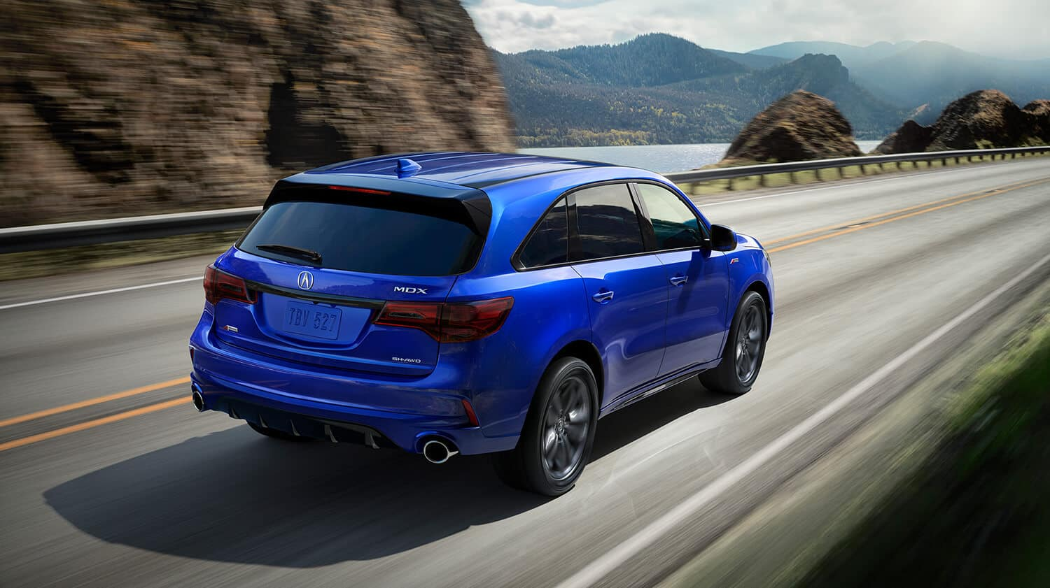 2019 Acura MDX Exterior Rear Angle Passenger Side Blue
