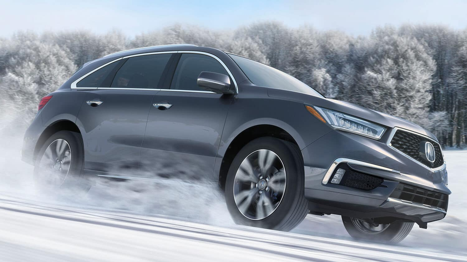 2019 Acura MDX Exterior Front Angle Passenger Side Snow