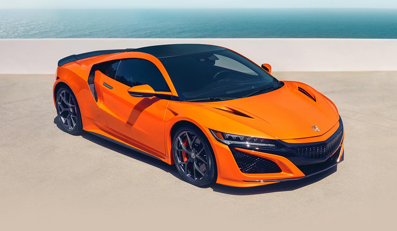 2019 Acura NSX Exterior Front Angle Passenger Side Thermal Orange Pearl