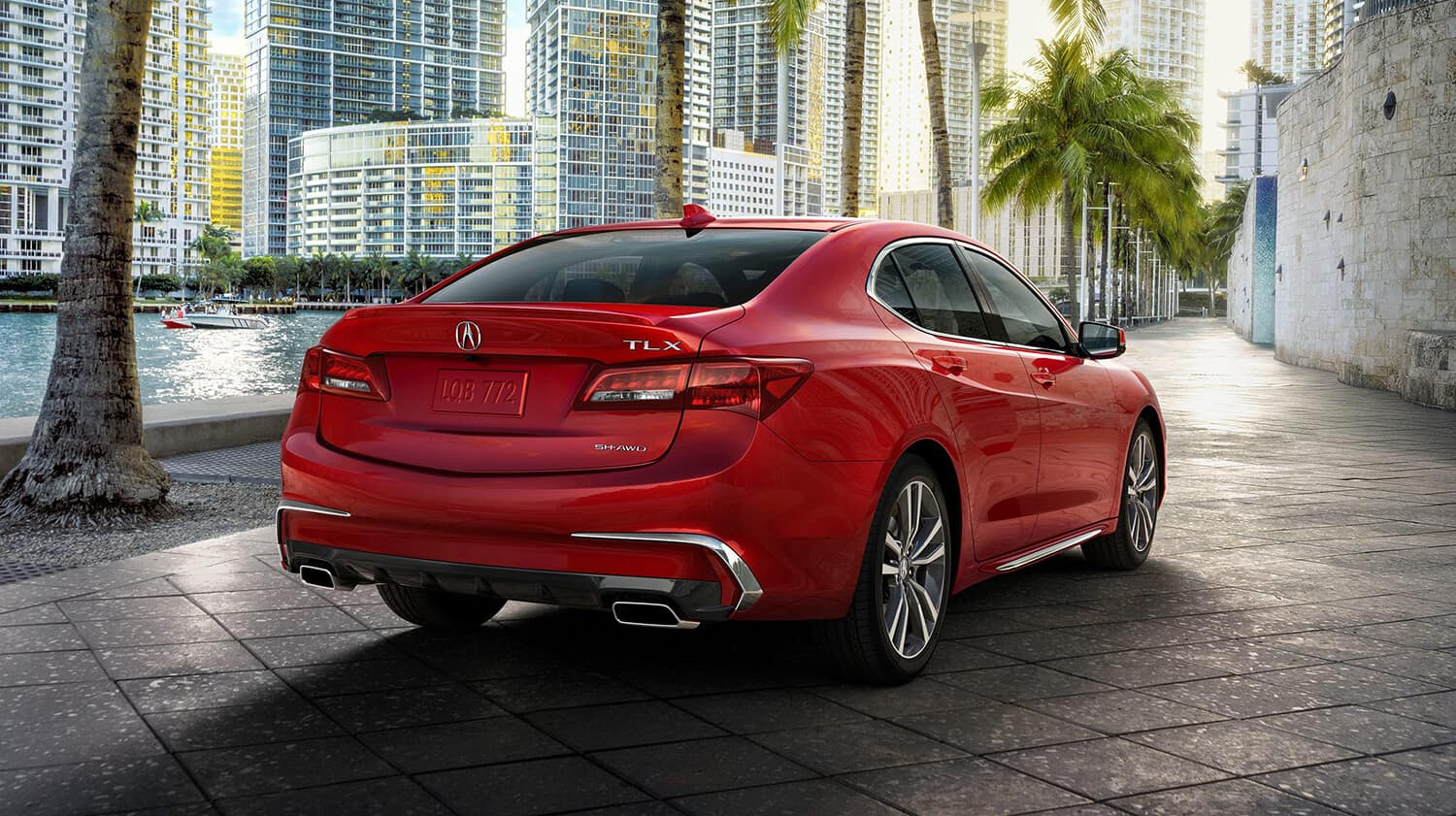 2020 Acura TLX Exterior Rear Angle Passenger Side Palm Trees