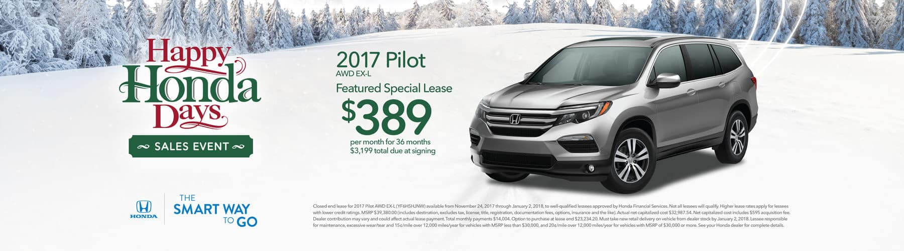 Happy Honda Days 2017 Pilot Lease Offer