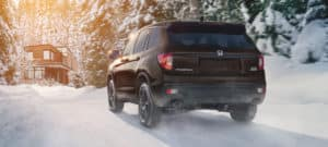 2020 Honda Passport AWD Exterior Rear Angle Snow Location