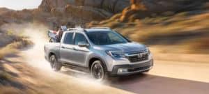 2020 Honda Ridgeline AWD Exterior Front Angle Desert Location