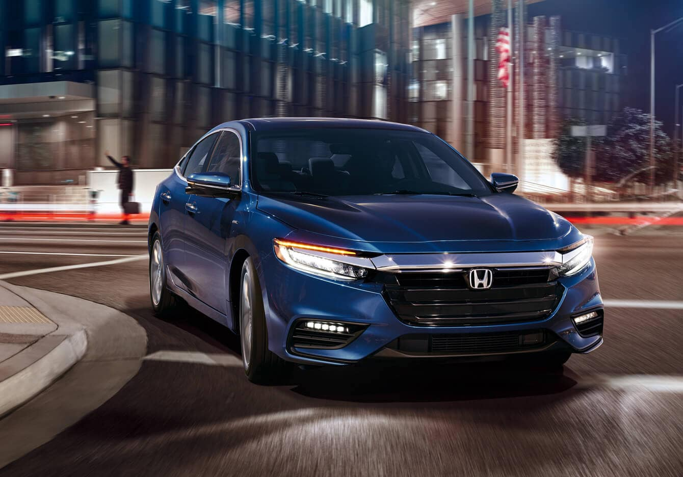 2019 Honda Insight Hybrid Exterior Front Angle City Night
