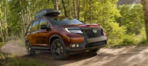 2020 Honda Passport AWD Exterior Front Angle Forest Location