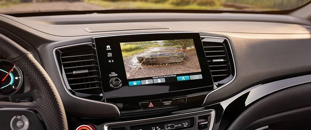 Close on 2020 Honda Passport back-up camera dashboard