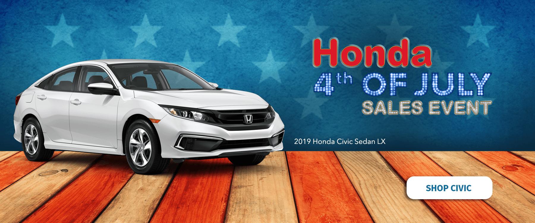 Honda 4th of July Sales Event 2019 Civic Sedan Slider