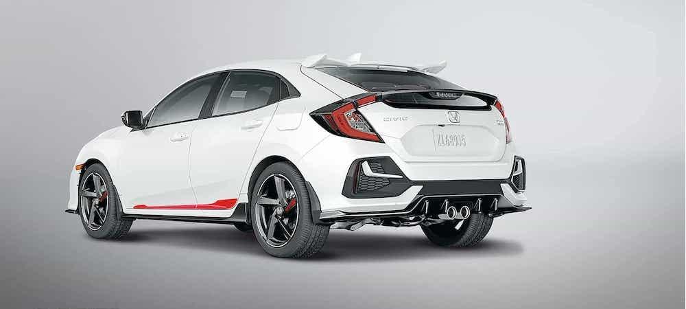 White 2020 Honda Civic Hatchback on gray gradient background