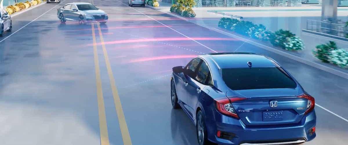 Blue 2020 Honda Civic using Honda Sensing Collision Mitigation braking system concept