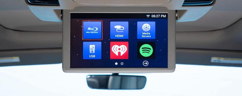 Close on rear entertainment screen of 2020 Honda Odyssey with spotify, blu-ray, iheartradio, and more