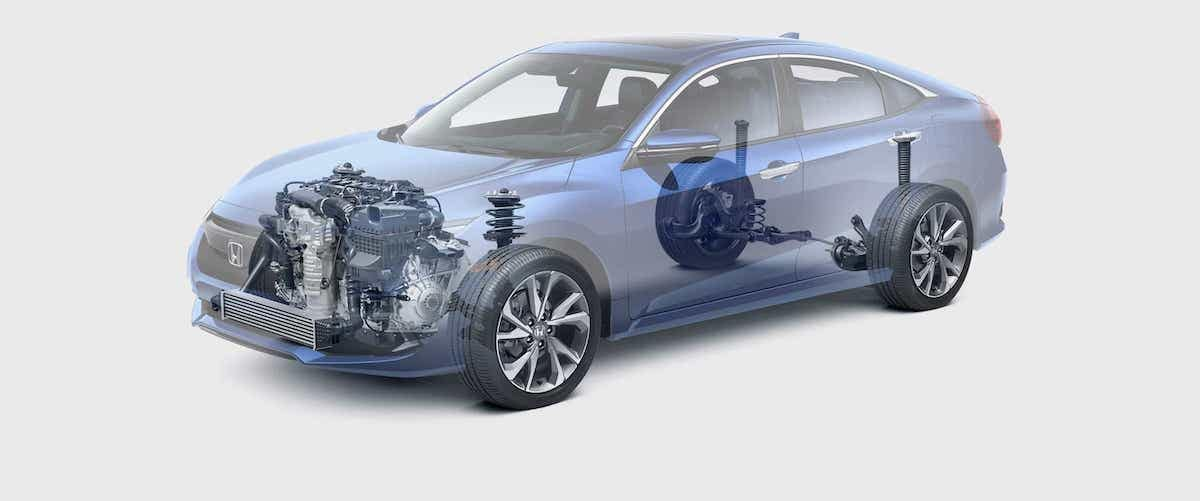 Translucent view of 2020 Honda Civic Sedan body with transmission