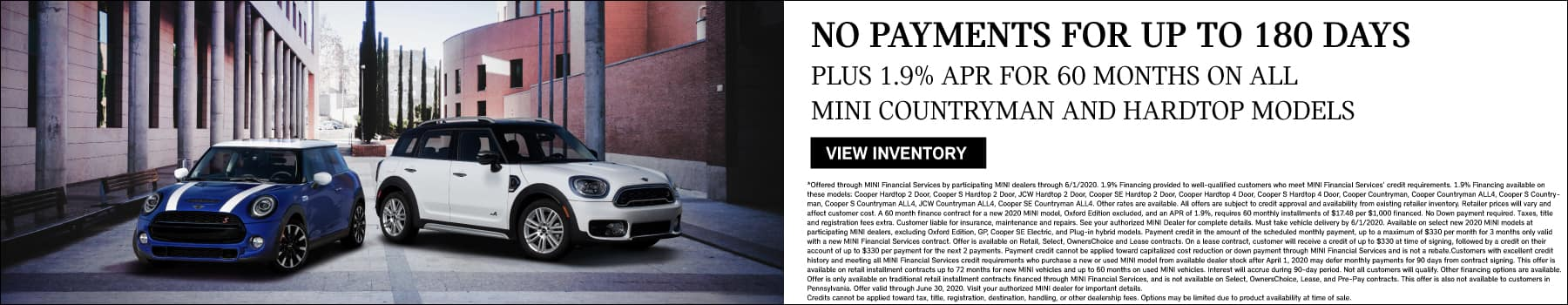 no payments for 180 days on countryman and hardtop models