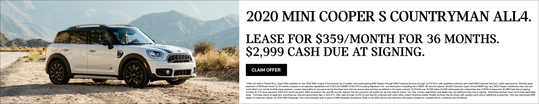 lease a 2020 mini cooper s countryman all4 for $359 per month.
