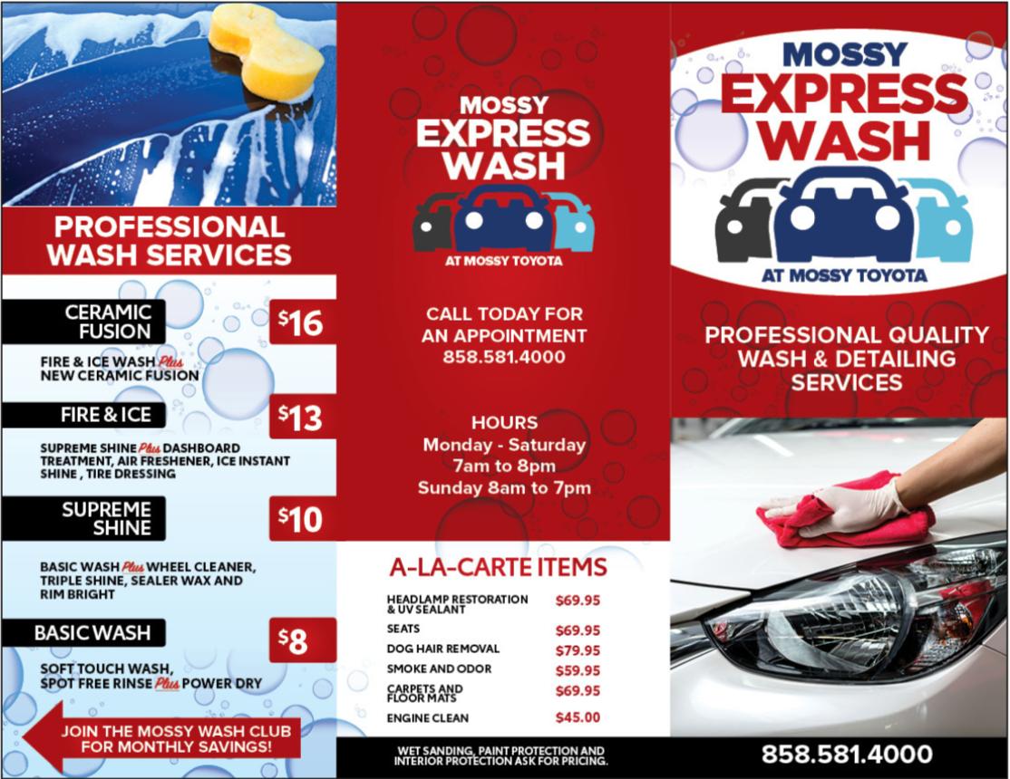 Express Wash Menu
