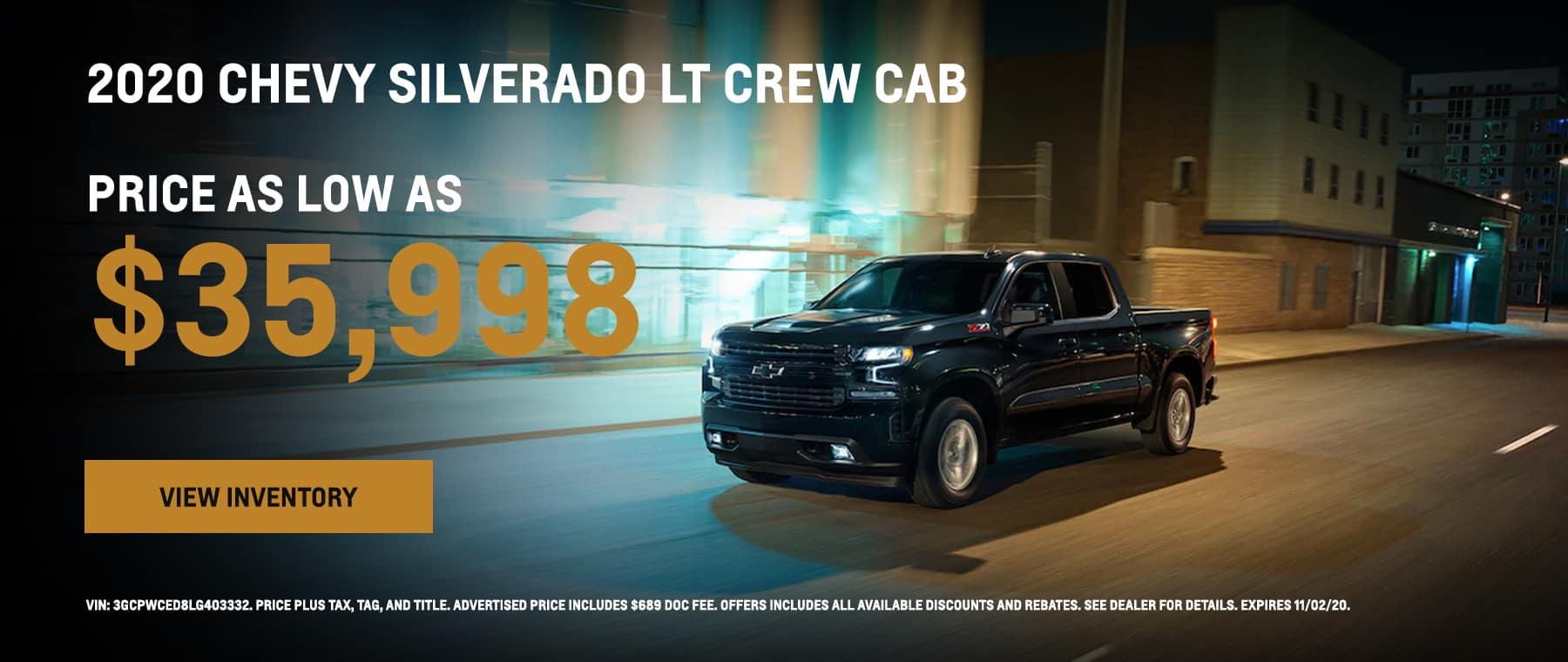 2020 Chevy Silverado LT priced as low as $35,998