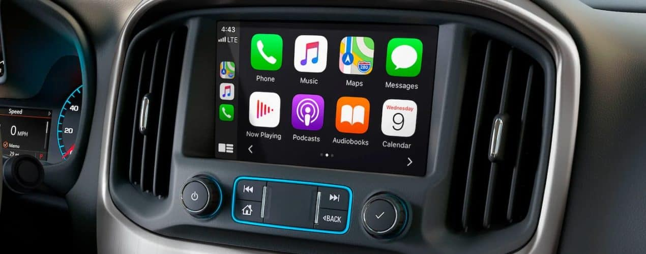 A close up shows the infotainment screen in a 2021 GMC Canyon Elevation.