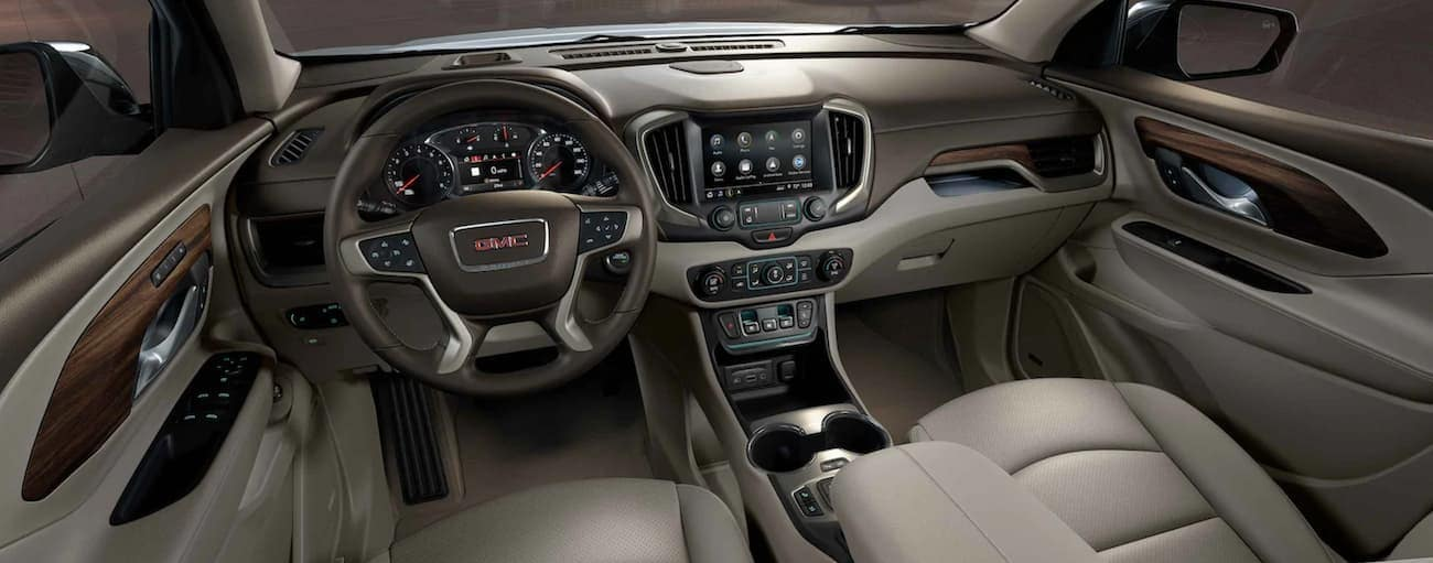 The beige interior of a 2021 GMC Terrain is shown.