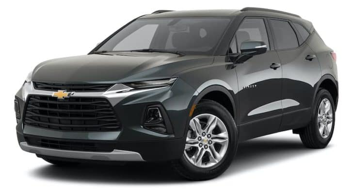 A black 2021 Chevy Blazer is angled left.