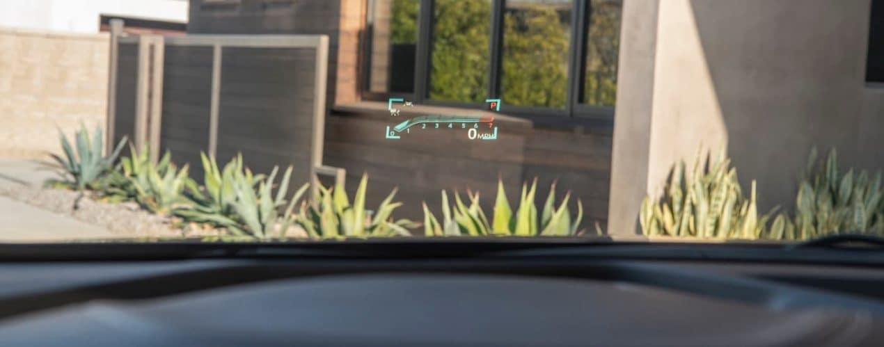 A close up shows the heads up display speedometer in a 2021 Buick Envision Avenir.