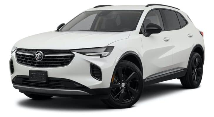 A white 2021 Buick Envision Essence is angled left.