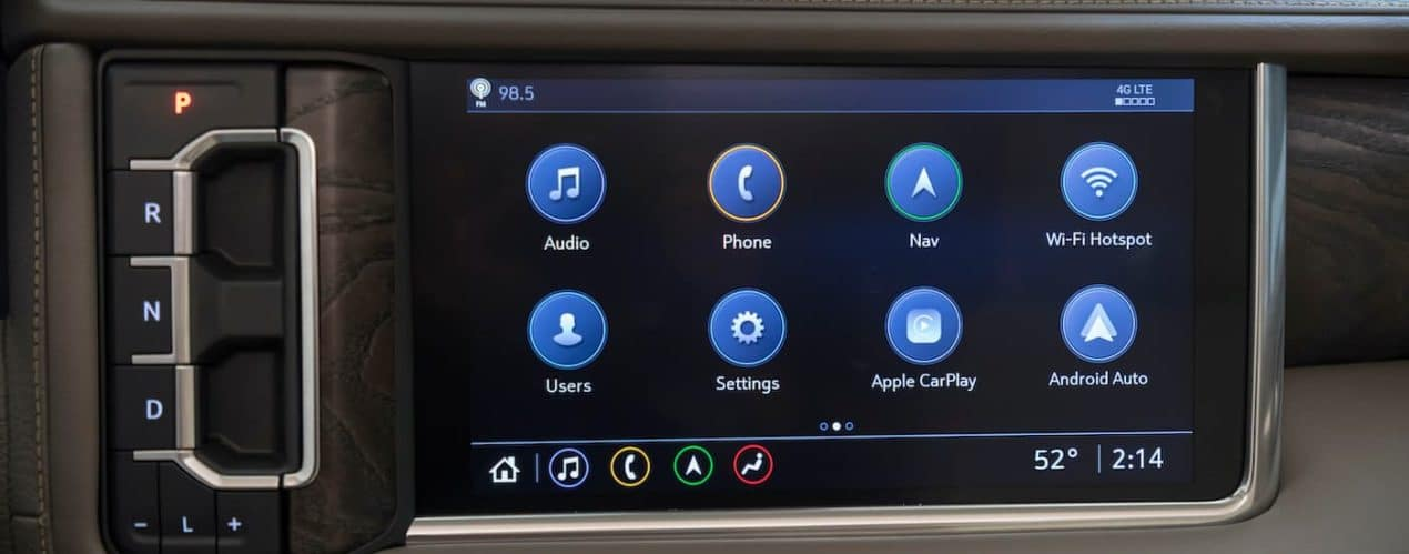 A close up shows the infotainment screen and apps in a 2021 GMC Yukon XL Denali.