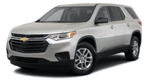 A white 2021 Chevy Traverse LS is angled left.