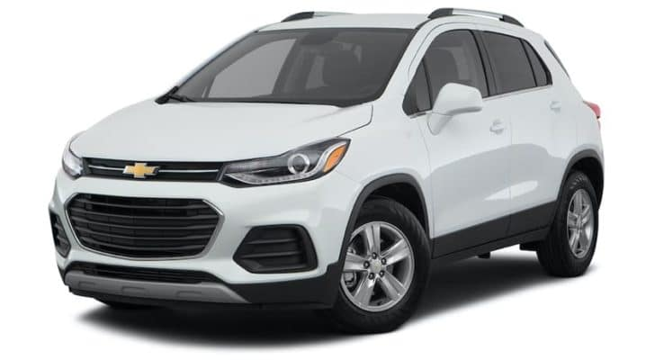 A white 2021 Chevy Trax LT is angled left.
