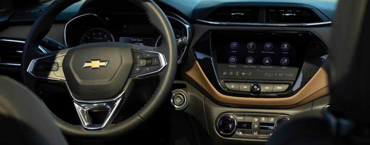 The steering wheel and infotainment screen is shown in a 2021 Chevy Blazer.