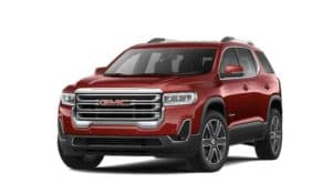 A red 2022 GMC Acadia is angled left.