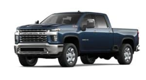 A blue 2022 Chevy Silverado 2500HD is angled left.