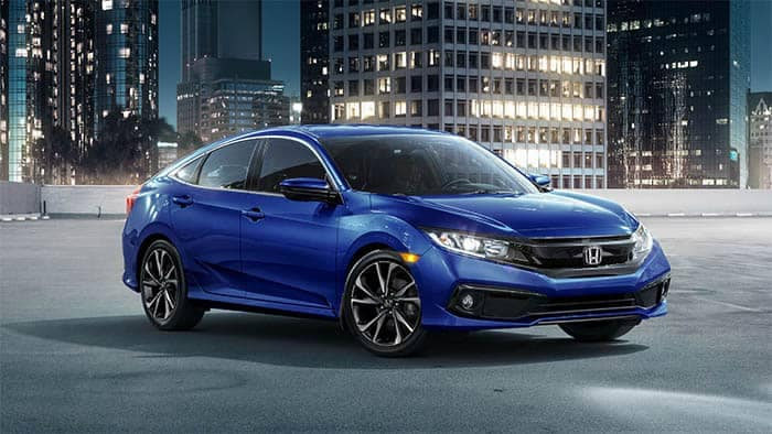 2019 Honda Civic Parked with City Background