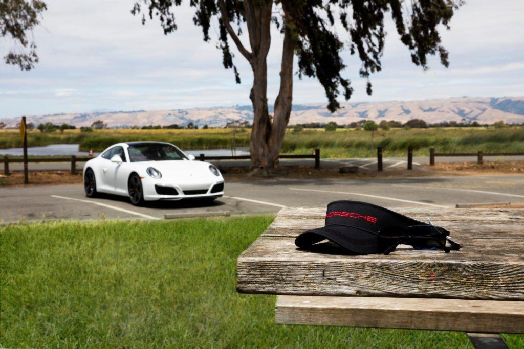 Porsche Visor and White Porsche