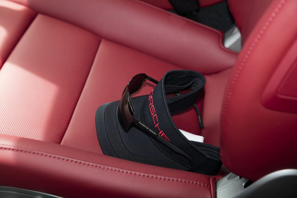 Red Leather seats with Porsche Visor