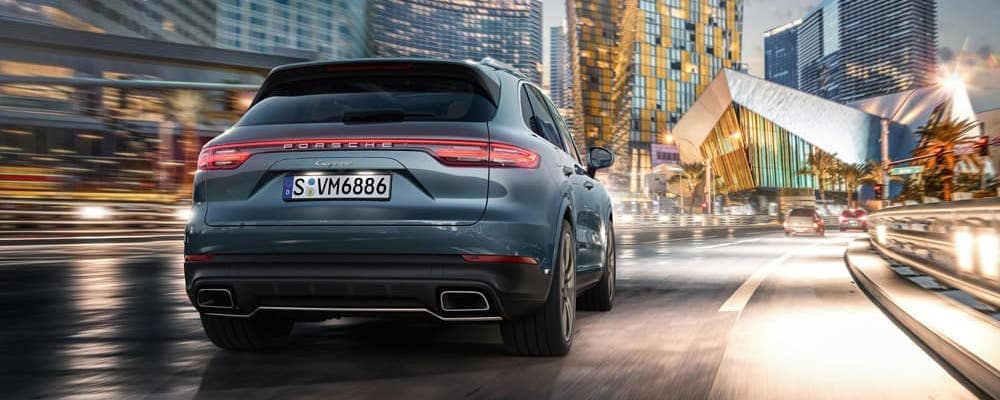 Rear view of the Porsche Cayenne on a city street